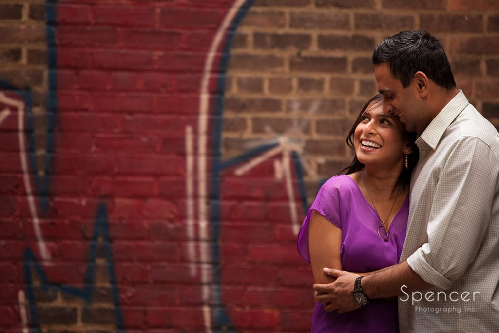 Indian couple hugging in Cleveland engagement picture