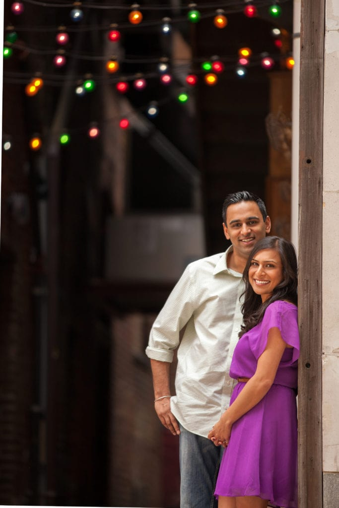 Indian couple in engagement picture on Cleveland East Fourth Street