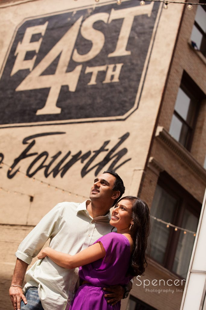 engagement picture of Indian couple on East Fourth Street
