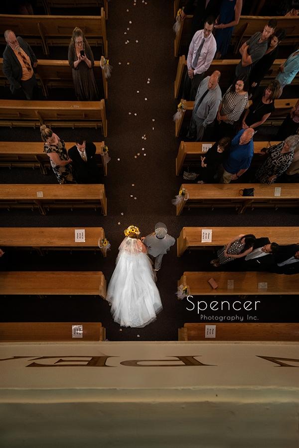 dad walking bride down aisle in Beaver Falls PA
