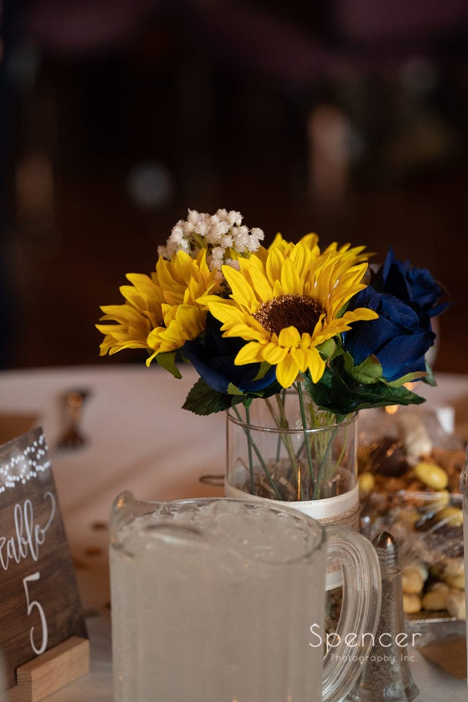 reception centerpiece at Rolling Acres Golf Course