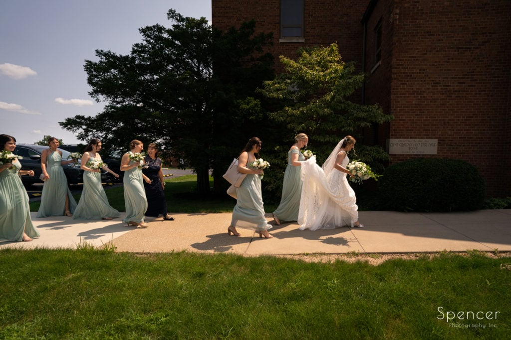 bride arriving at her wedding at The Chapel Akron