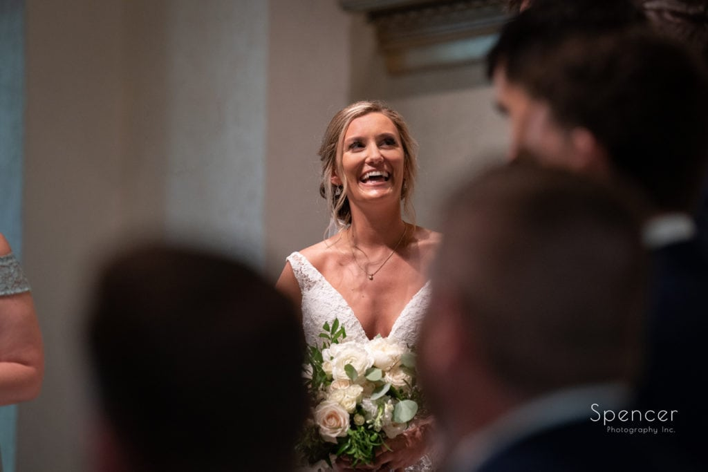 bride smiling at her wedding at The Chapel Akron