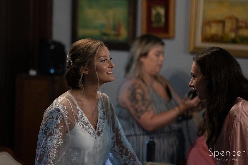 bride talking with bridesmaid