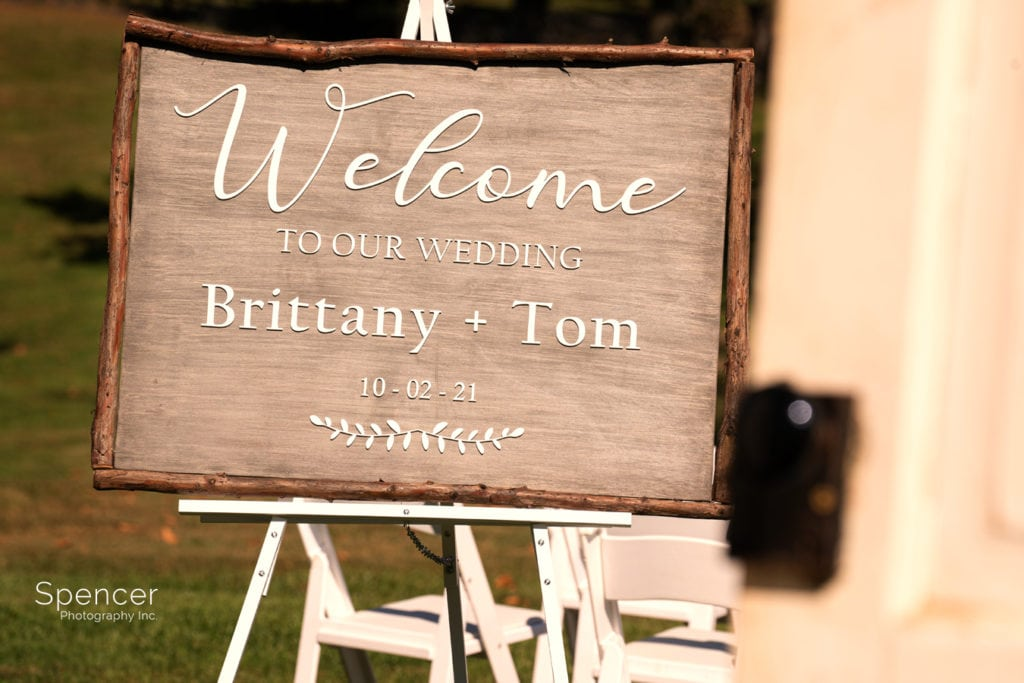 welcome sign at wedding ceremony at Parker Barn