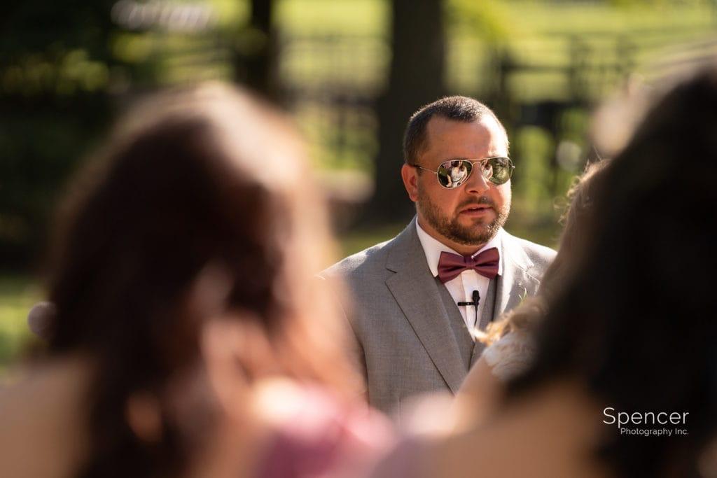 groom during wedding ceremony