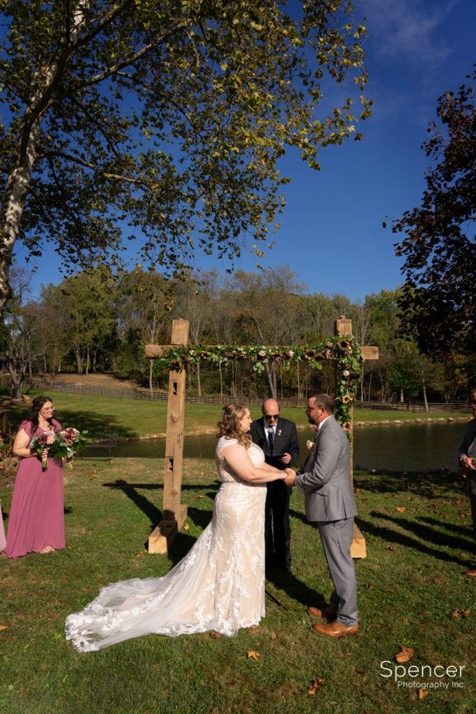 wedding ceremony at parker barn