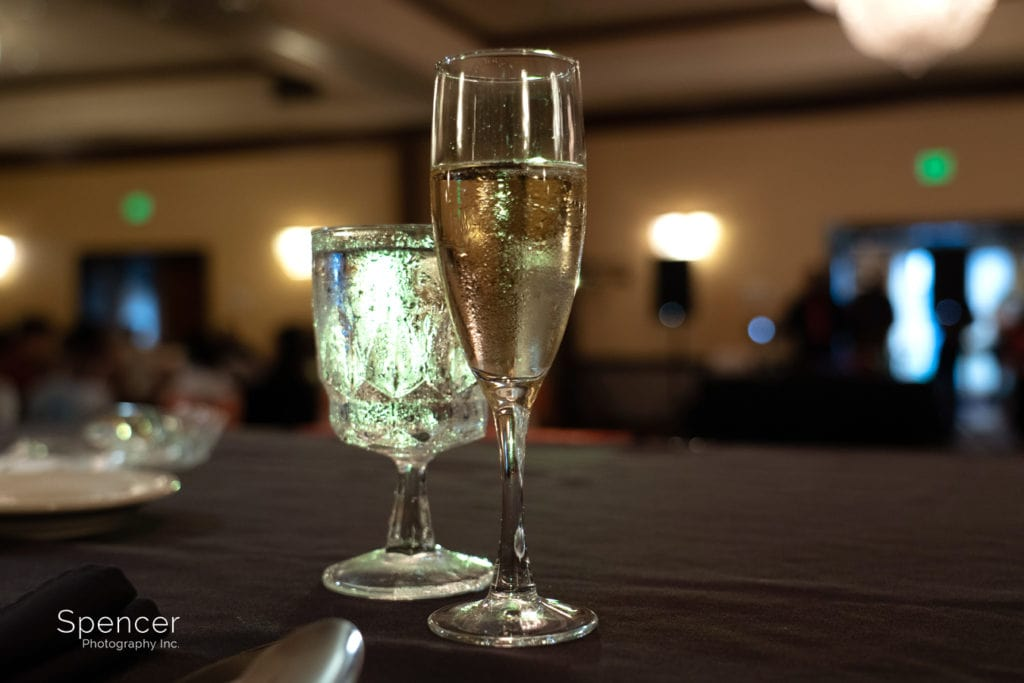 champagne glass at Cleveland Doubletree reception