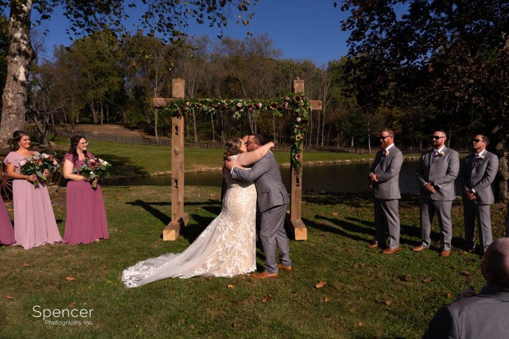 first kiss at park barn wedding