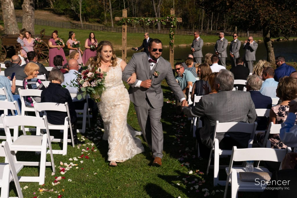wedding recessional at Parker Barn