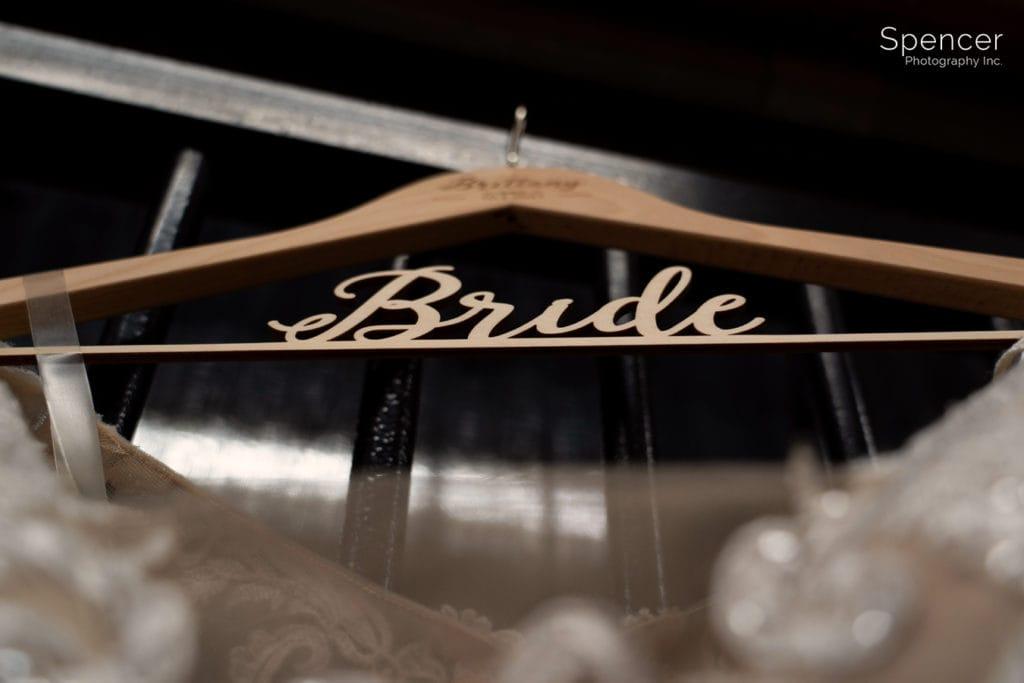 bride hanger at Parker Barn