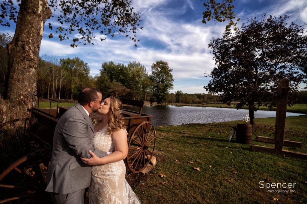 bride and groom kissing at Parker Barn Copley