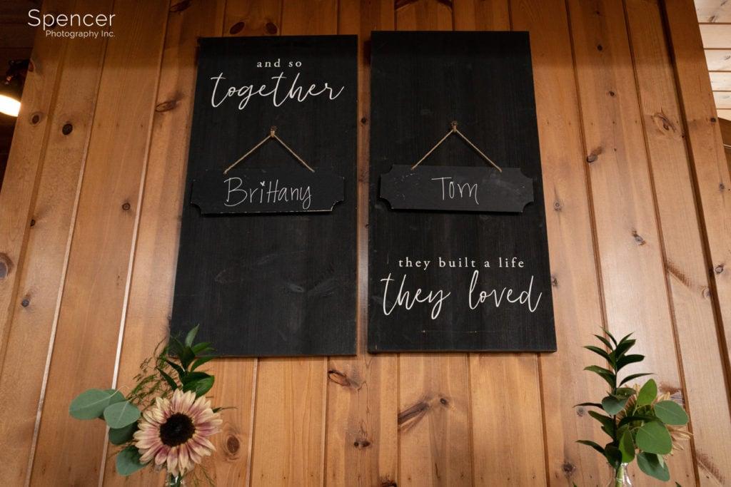 wedding reception sign at Parker Barn