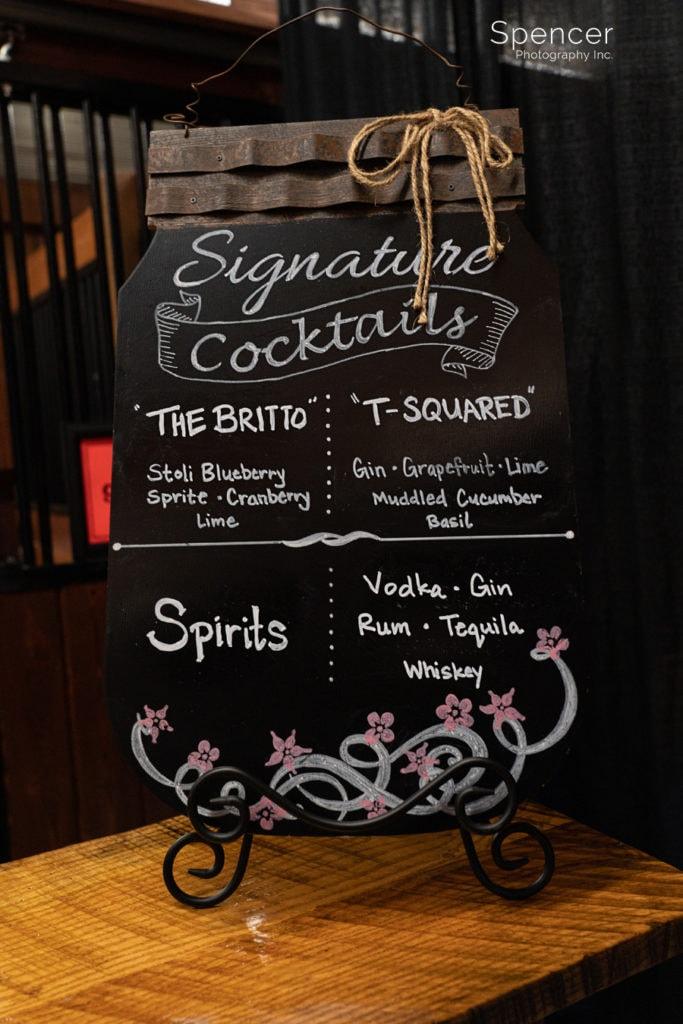 bar sign at Parker Barn wedding reception