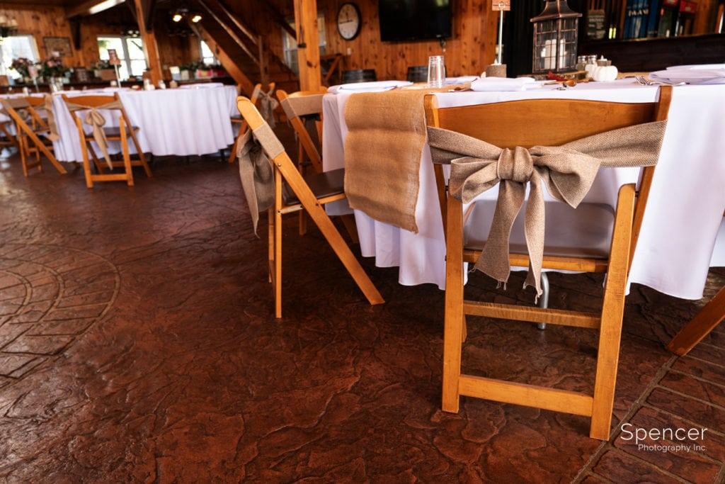 wedding reception chair at Parker Barn