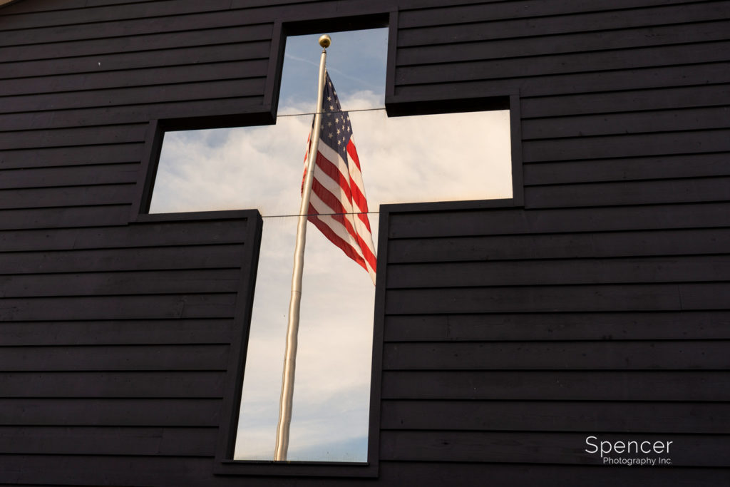 reflection of flag at Parker Barn Cleveland