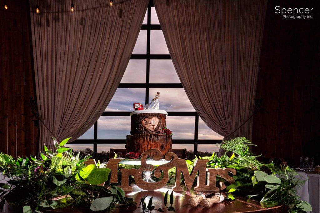 unique wedding cake at Parker Barn wedding reception