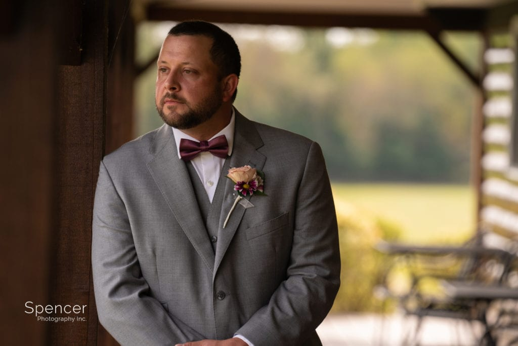 portrait of the groom at Parker Barn