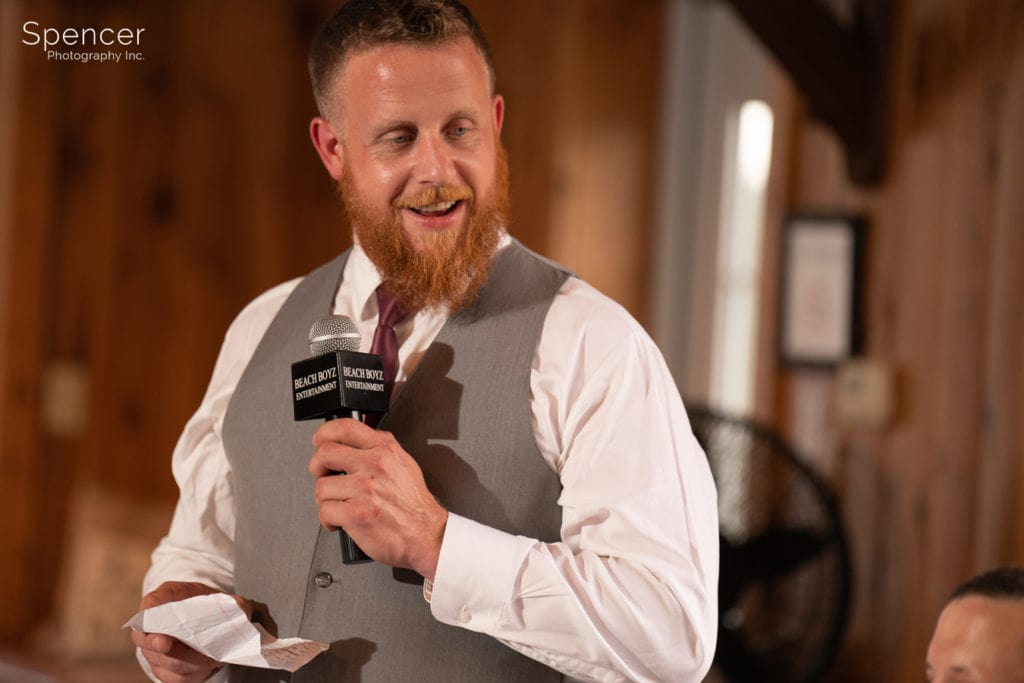 best man speech at Parker Barn wedding reception