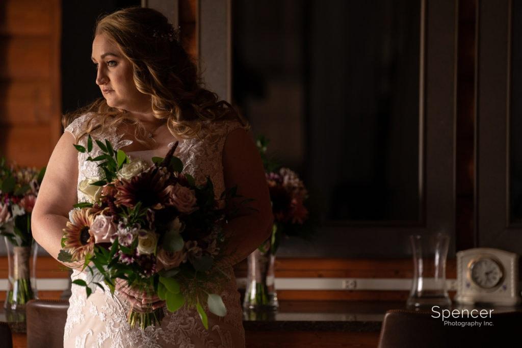 bridal portrait inside Parker Barn