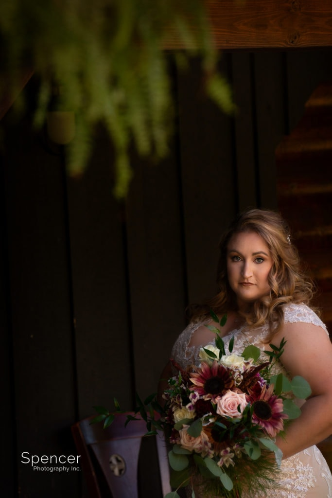 beautiful picture of bride at Parker Barn