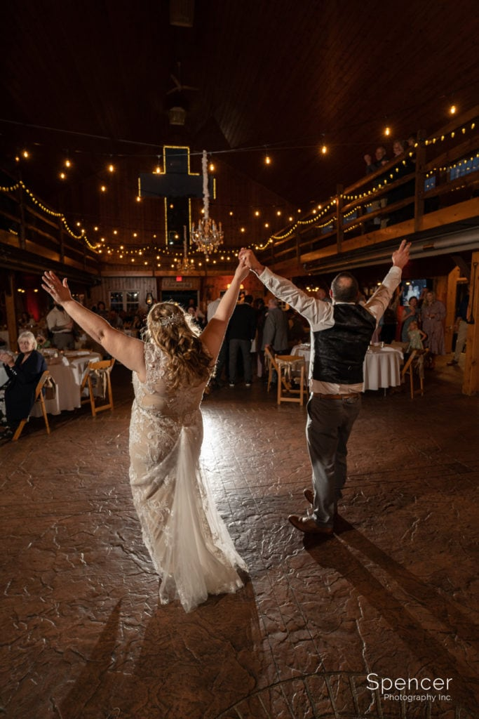bride and groom finish first dance at parker barn wedding reception