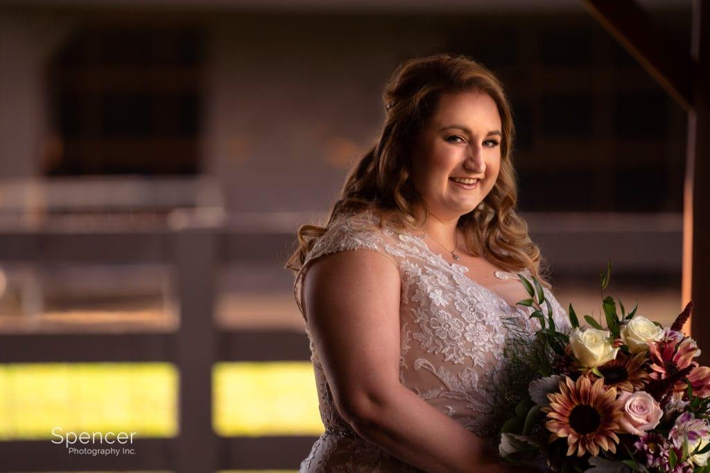 wedding portrait of bride at Parker Farm