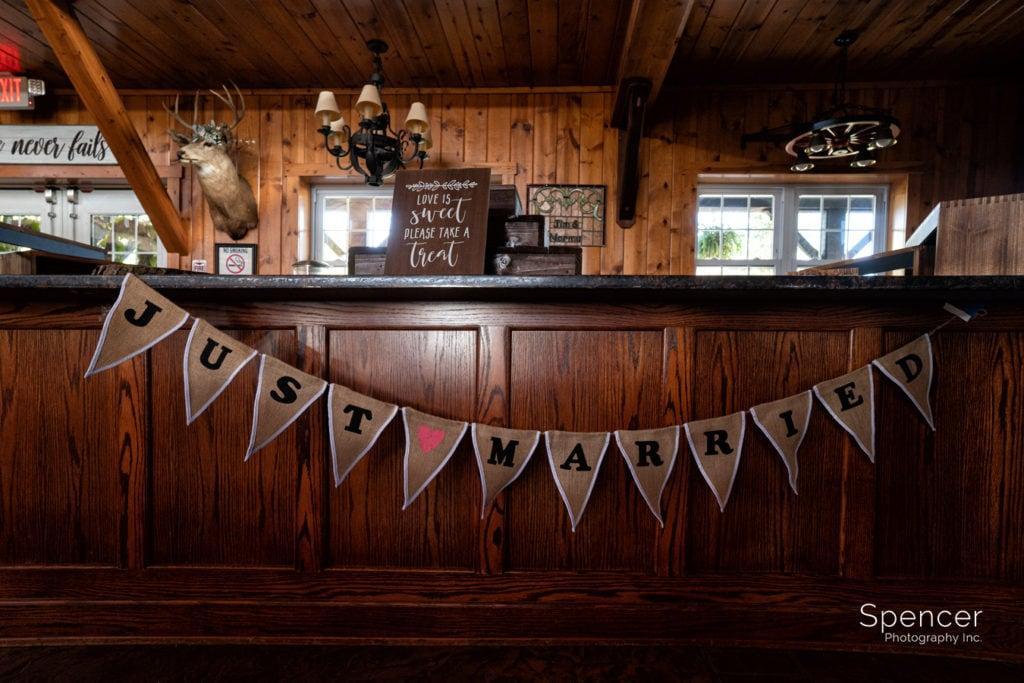 bar set up at Parker Barn wedding reception Copley