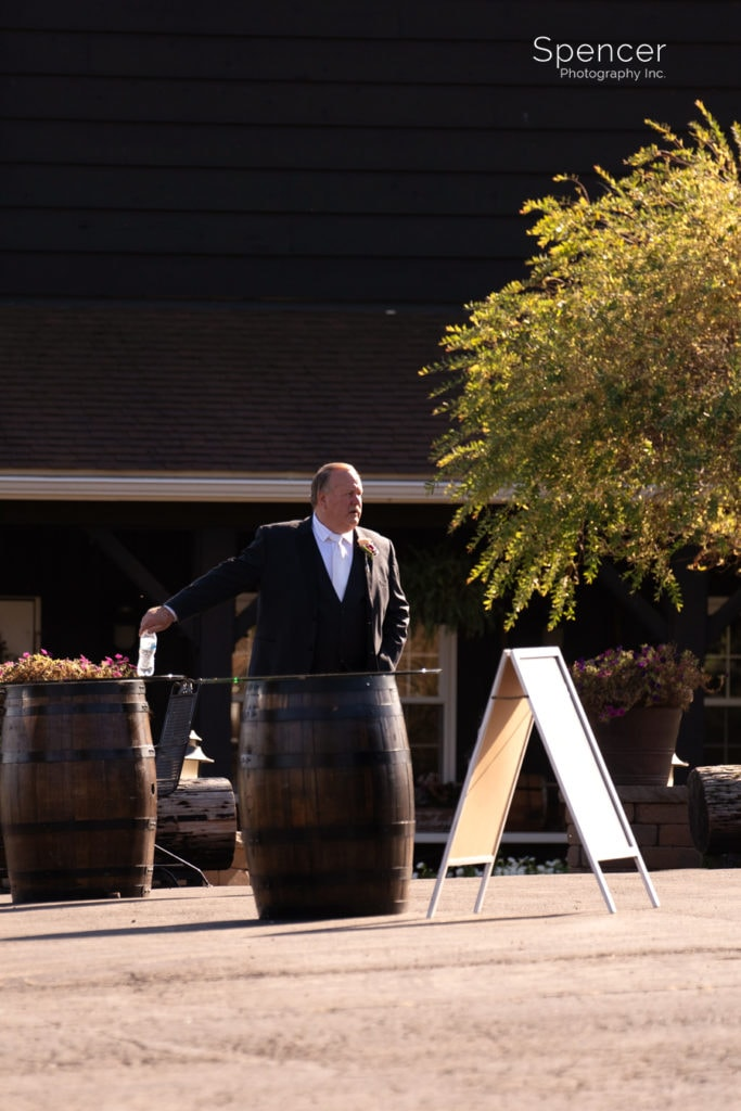 dad waiting for bride at Parker Barn wedding ceremony