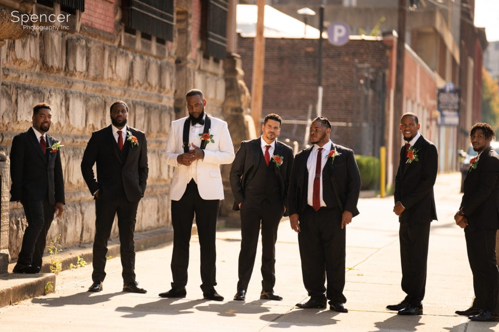 groomsmen with groom in downtown Cleveland