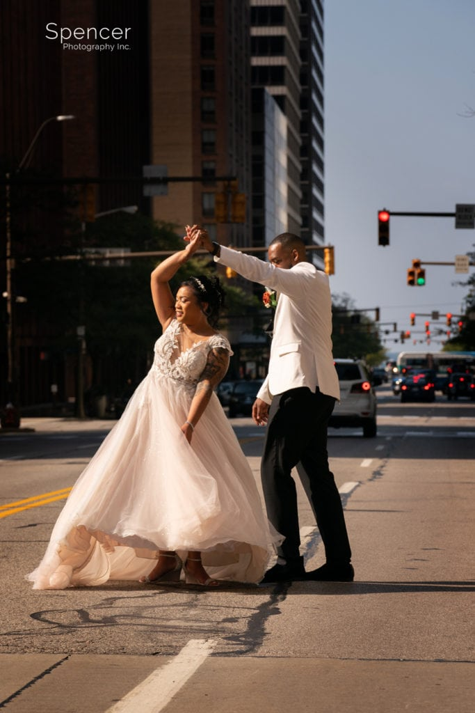 bride and groom dancing in Cleveland street