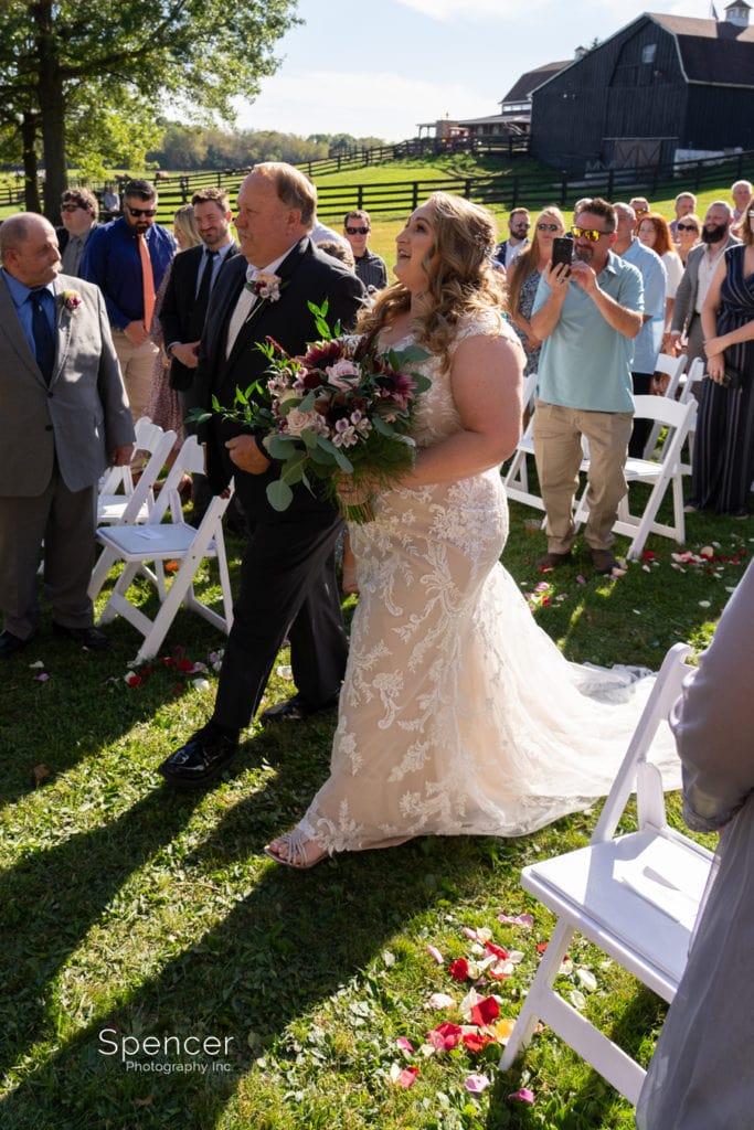 bride seeing groom at wedding ceremony