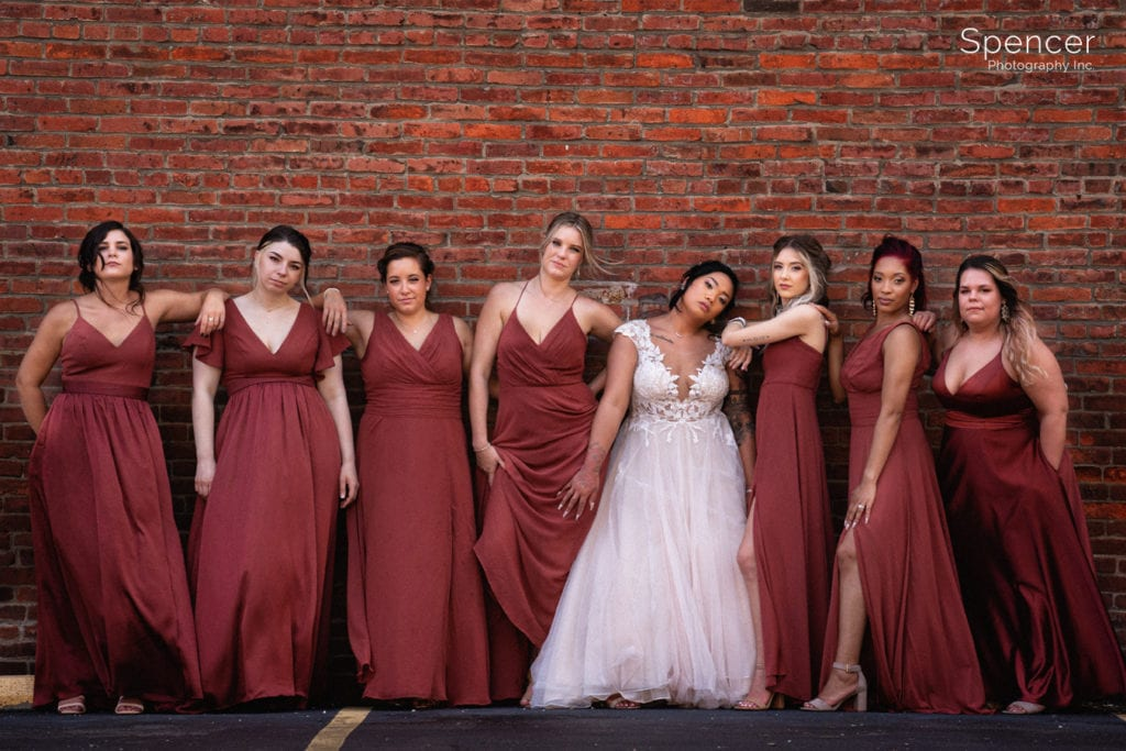 cool picture of Cleveland bridesmaids