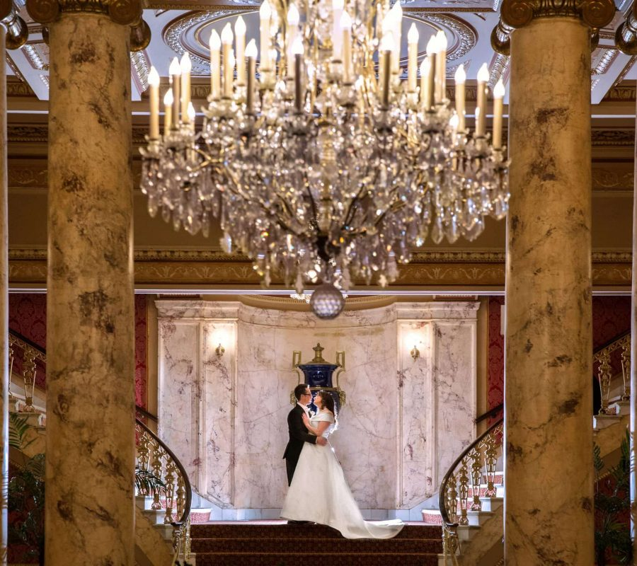 bride and groom hugging in theater in Playhouse Square Cleveland