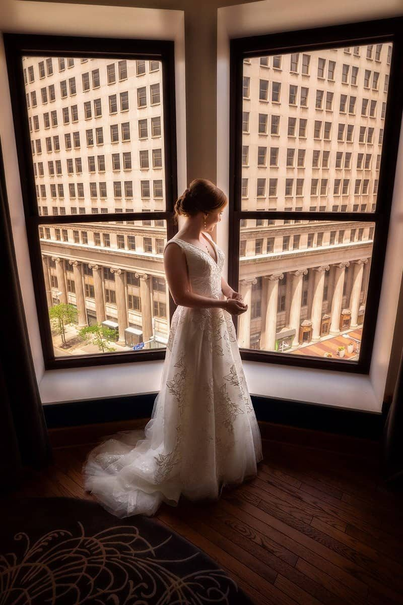 bride on her wedding day at Kimpton Schofield Hotel Cleveland